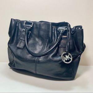 Michael Kors Black Leather Buckle Strap Tote Bag